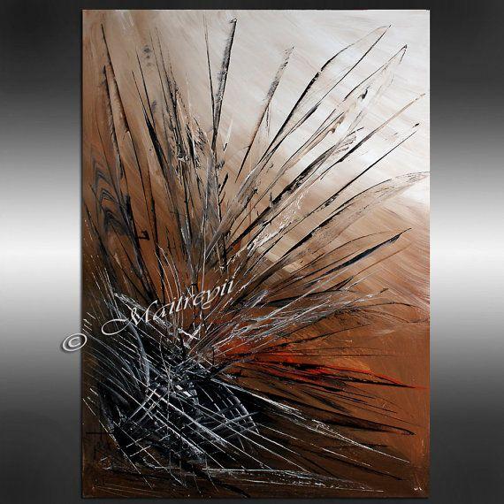 Peintures originales de gros oeuvre brun abstrait par largeartwork