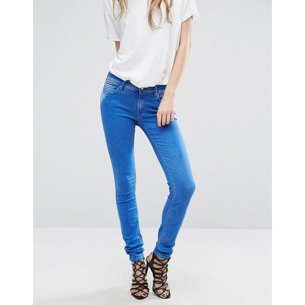 Replay Luz Mid Rise Skinny Jeans (£115) ❤ liked on Polyvore featuring jeans, blue, skinny leg jeans, leather skinny jeans, blue skinny jeans, destroyed skinny jeans and patchwork jeans