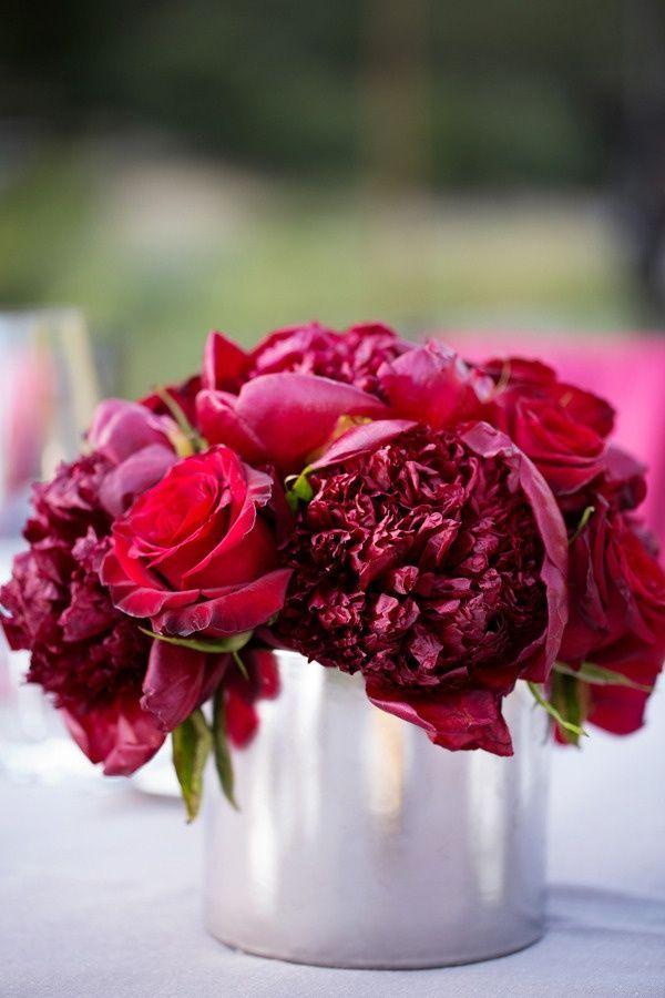 centros de mesa para boda con rosas rojas
