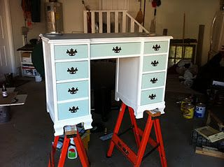 Refinished Desk.....drawers different color than base....