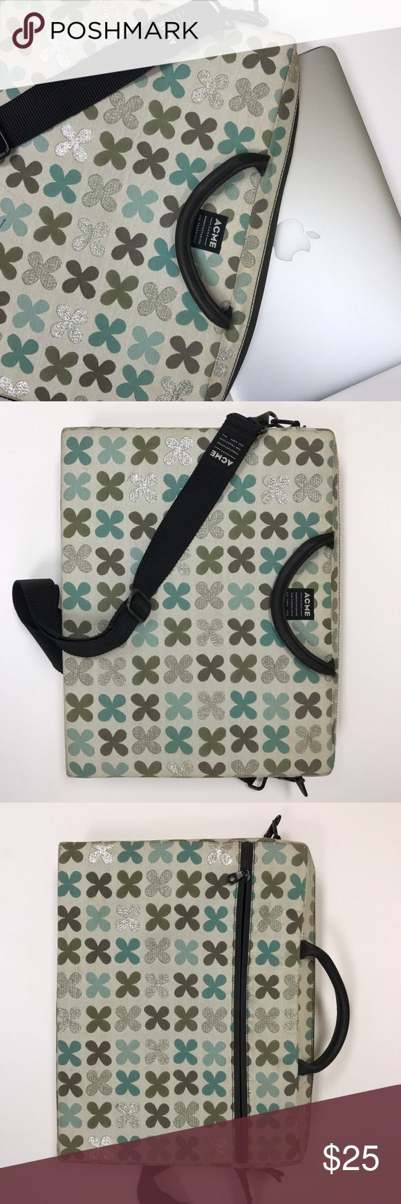 "Acme Made Designer 15"" Laptop Case w/ Strap Designer Laptop Case with bold printed fabric. Interior cushioned with top zipper enclosure. Carry by handles or with adjustable, comfortable shoulder / Cross-body Strap. Exterior Zipper. Fits 15"" Laptop. Measures 15"" w x 11.5"" h x 2"" d Acme Made Bags Laptop Bags"