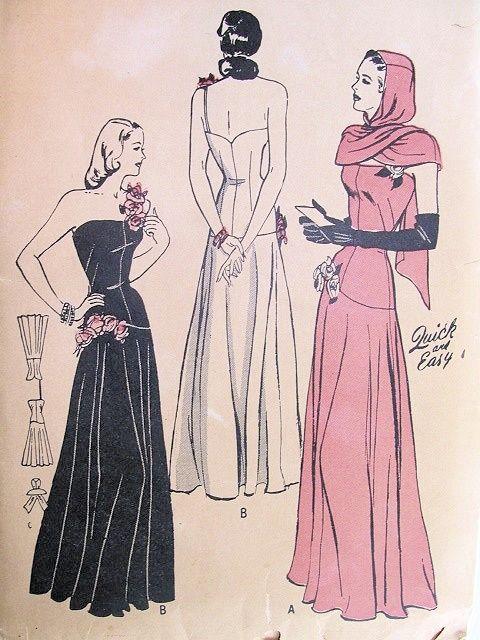 Long 40s dress template