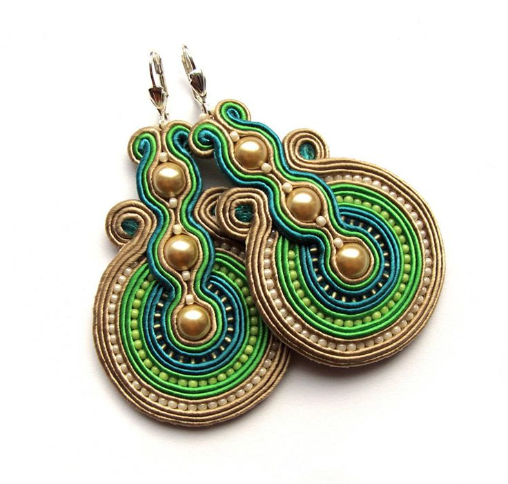 Statement earrings soutache colorful handmade ♡ by SaboDesign,$110.00