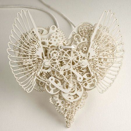 Oh, my... Clockwork Love - Amazing paper cut art made by Tjeb