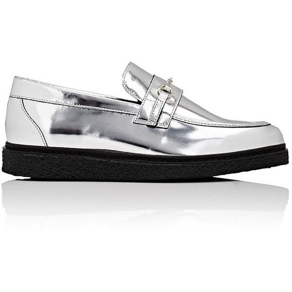 Opening Ceremony Women's Sloan Specchio Leather Loafers ($159) ❤ liked on Polyvore featuring shoes, loafers, silver, opening ceremony shoes, genuine leather shoes, opening ceremony, loafers moccasins and slip-on loafers