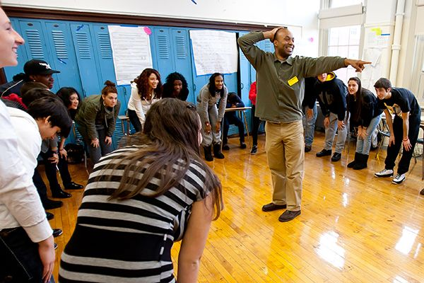 Devin leading a workshop at James Madison High School