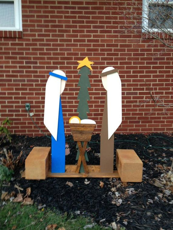 Handcrafted Outdoor Wooden Nativity | Mary, Joseph & Baby Jesus Nativity | Christmas Lawn Decoration