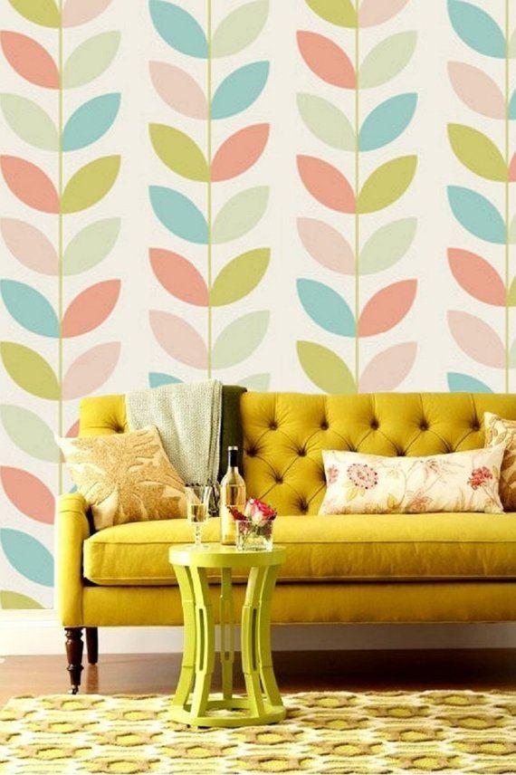 Retro Flower Pattern Geometric Wallpaper Self Adhesive Wallpaper
