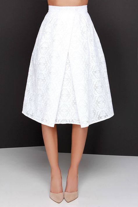 """You can relax knowing you're rockin' an on-point ensemble with the Piece and Harmony Ivory Two-Piece Dress! This puckered woven crop top with a tantalizing texture, and darted accents, is complemented by stretchy elastic trim that meets at a sliding, shiny gold closure at back. The matching midi-length skirt adds a classic touch with its banded waist, and asymmetrical box pleats. Skirt has hidden back zipper. Fully lined in stretch knit. Small top measures 13.5"""" long. Small bottom measures…"""