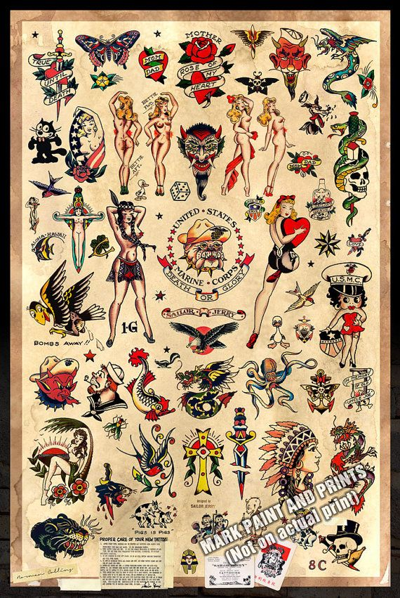 Sailor Jerry Tattoo Flash 2 Poster stampa di MarkPaintAndPrints