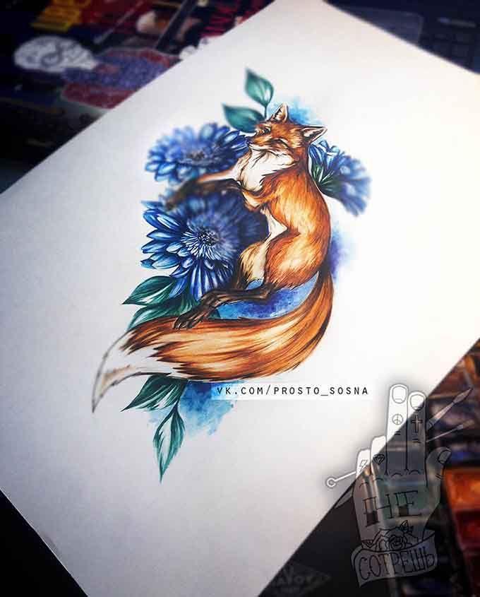 Fox and gerbera Лиса\Fox #tattoostudio #tattoo #fox #лиса #iris #орхидея #эскиз #акварель #watercolor #aquarelle #sketch  #тату #татуировка #sosna_art