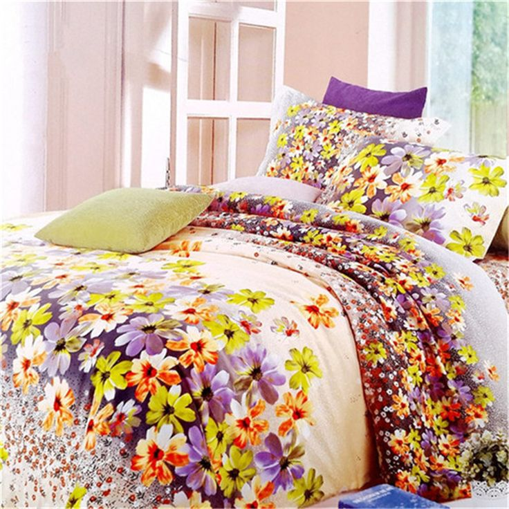 new style A multicoloured floral pattern 3D bedding upset 4pcs quilt cover/Bed sheet/pillowcase size Queen Free shipping #Affiliate
