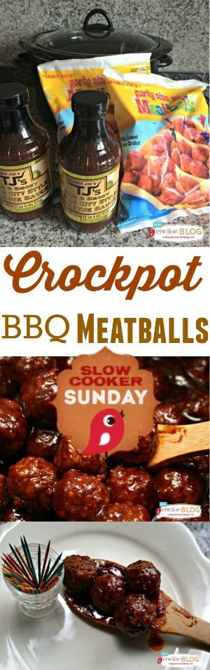 Crockpot BBQ Meatballs | Slow Cooker Sunday | TodaysCreativeBlog.net Slow Cooker Recipe, Crock Pot Recipes, Appetizers, Party Food