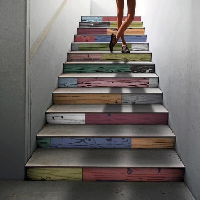 Genius staircase using coloured timber porcelain tiles #timbertiles #signorinotilegallery