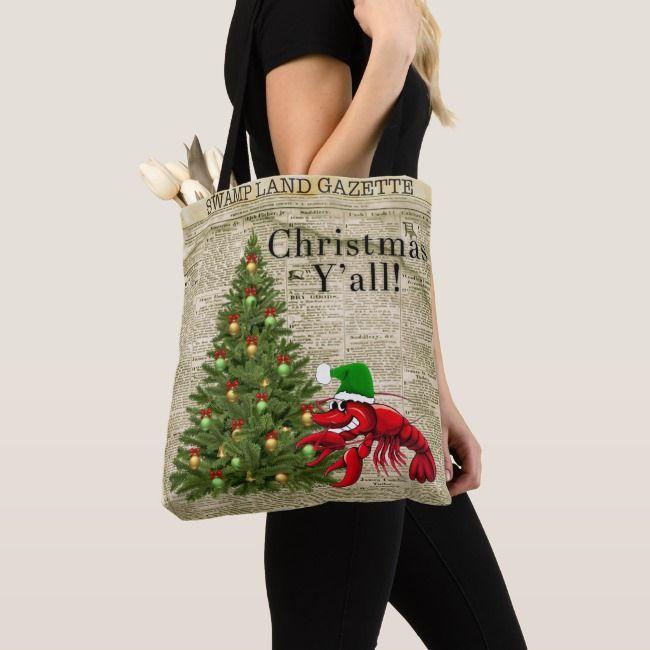 Cajun Christmas on the Bayou Drawstring tote bag from my art.