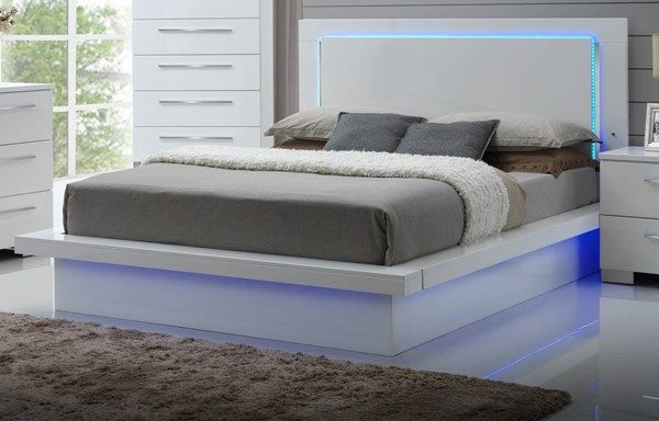 Sapphire High Gloss White Lighted Headboard King Platform Bed