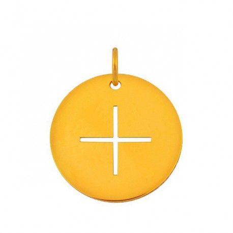 Beau cadeau de bapteme; pendentif croix en or jaune; bijoux bapteme, pendentif en or