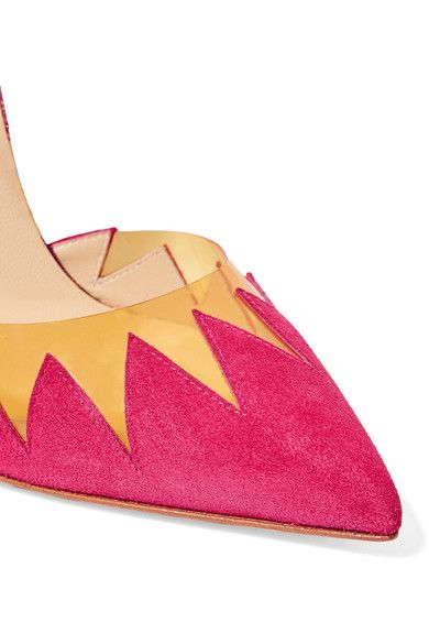 Christian Louboutin - Chapito Ho 100 Pvc-trimmed Suede And Leather Pumps - Bubblegum - IT38