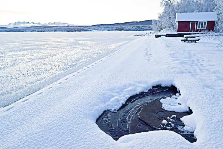Winter landscape by Soløyvatnet in Northern Norway