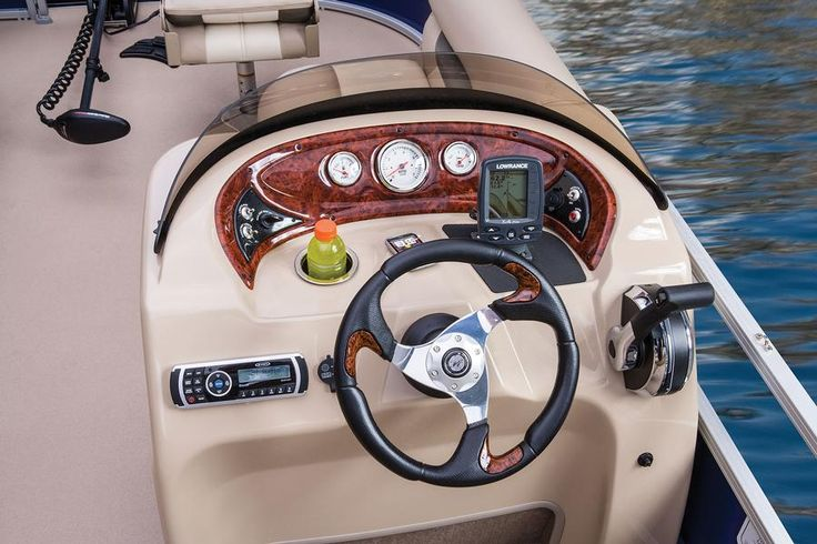Lowrance® fishfinder (comes w/Optional fish package), 4:2 ratio steering for easy turning, Illuminated tachometer, trim & fuel gauges, Toggle switches & Mercury® binnacle control box w/trim http://www.exclusiveautomarine.com/product/fishin-barge-20-dlx