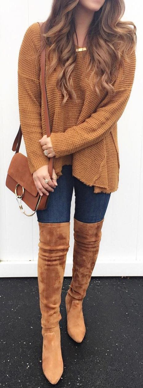 #winter #fashion /  Camel Knit / Navy Skinny Jeans / Camel Velvet OTK Boots / Camel Shoulder Bag