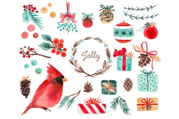 Watercolor Holiday Clip Art by RhianAwni on @creativemarket