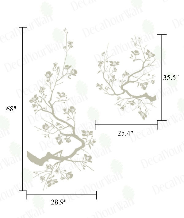 Large Japanese Cherry Blossoms Tree Branches Wall Art Decal Vinyl Sticker Home Decor. $44.95, via Etsy.