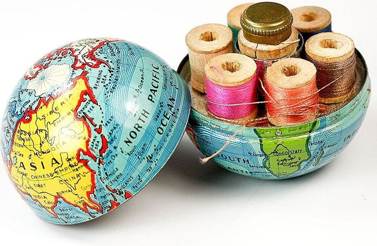 Vintage globe thread case