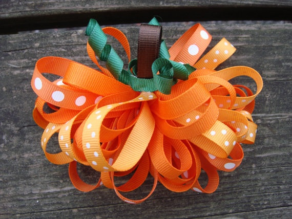 Pumpkin Sculpture Loopy Puff Hair Bow.