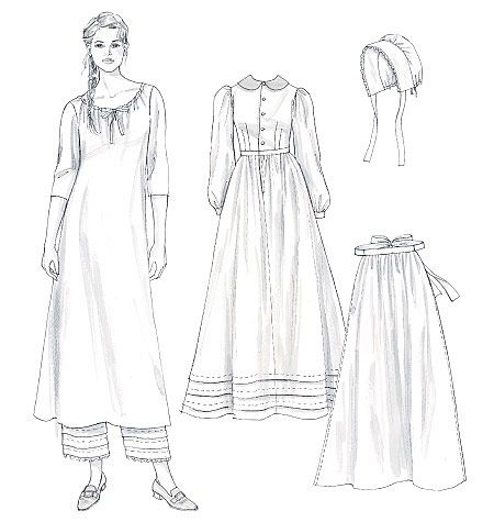 Butterick M4548 - Misses' Early American Costume - chemise is fine, need re-grading for dress. Love the pantaloons & bonnet :D