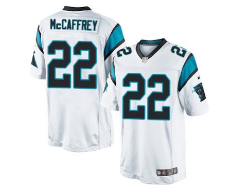 Men's Carolina Panthers #22 Christian McCaffrey White Nike NFL Elite Jersey.