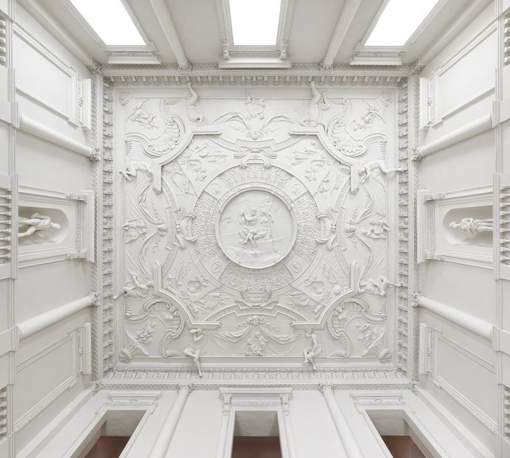 """Clandon Park - Marble Hall Ceiling  central circular relief depicting Hercules and Omphale, a humorous tale of male and female role reversal from Greek and Roman mythology - """"A team of Italian-Swiss stuccadores sculpted the six significant 18th-century decorative plaster ceilings,"""""""