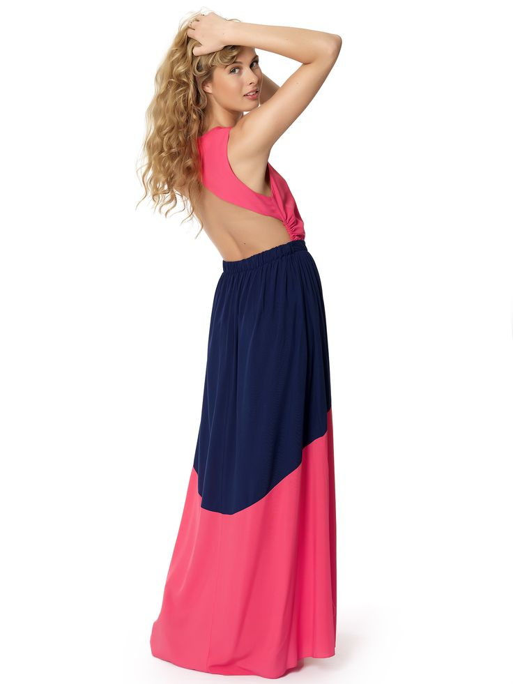 Colorblock open back maxi dress