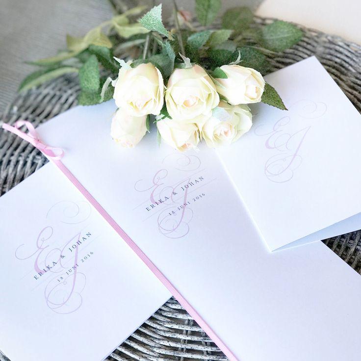 """Erika Baldesjö (@erikaochmeja) på Instagram: """"• INBJUDNINGSKORT FESTPROGRAM TACKKORT • I samband med vårt bröllop förra sommaren var…""""  Bröllopskort i serien One /  TRYCKSTUDION.SE"""