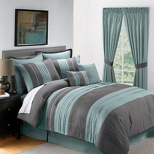 king bedding sets green grey | Sale 8PC King Size Blue Gray Pintucked Comforter Set | eBay