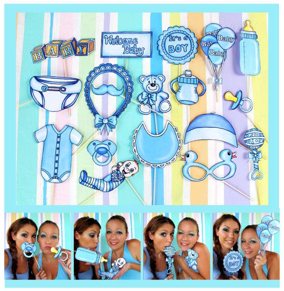 Baby boy photo booth props in blue  perfect for a baby shower
