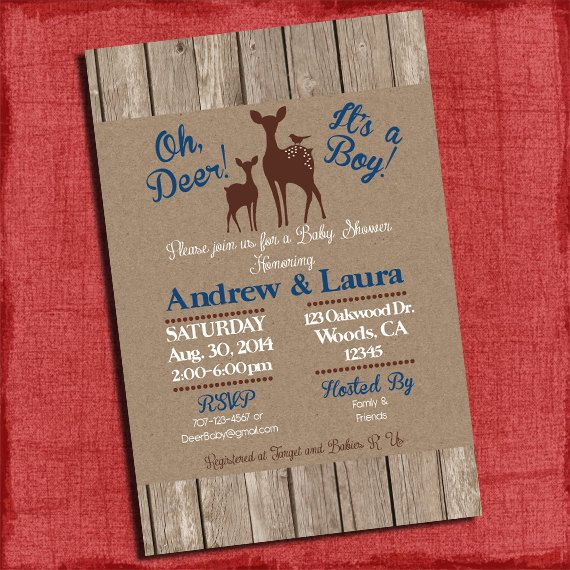 Woodland Deer Baby Shower Invitation Rustic Invite  4x6 or 5x7 Invitation-I Design You Print on Etsy, $15.00