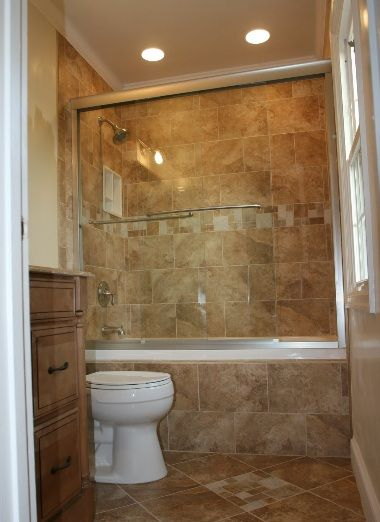 Cream Small Bathroom Renovation - shower and tub combination