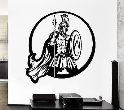 Wall Decal Ancient Greek Warrior Spartan Shield Battle Spear Vinyl Decal Unique Gift (ed303)