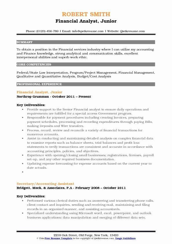 Financial Analyst Resume Sample Fresh Junior Financial Analyst Resume Samples Business Analyst Resume Marketing Resume Customer Service Resume