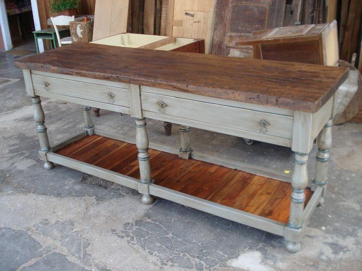 tavolo cucina bancone lavoro penisola ricostruito con vecchi materiali in Arte e…