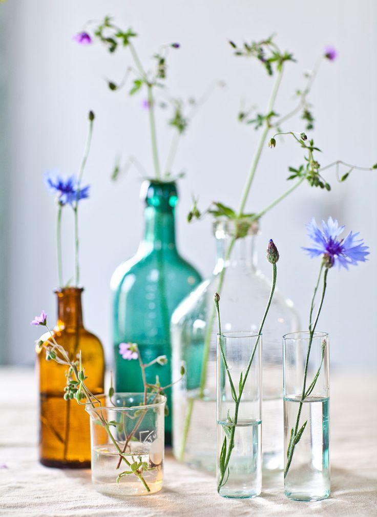 INRED MED LOPPISFYND Á LA ELSA BILLGREN: 3. Gruppera mera. Mixa vilt allt från flaskor, småvaser, mjölkprovrör och andra glasbehållare och bygg en liten gruppering. Tänk på att det blir allra vackrast med olika höjder, färger och former!   Hus & Hem