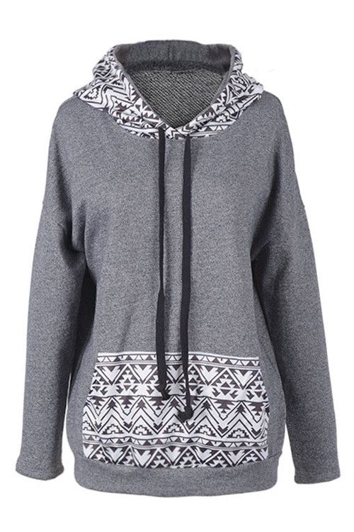 Cupshe Love Her Madly Geometric Hooded Sweatshirt