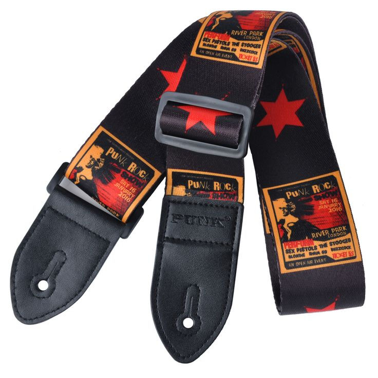 SEWS Polyester painted guitar strap folk guitar / acoustic guitar strap Black and red stars #Affiliate