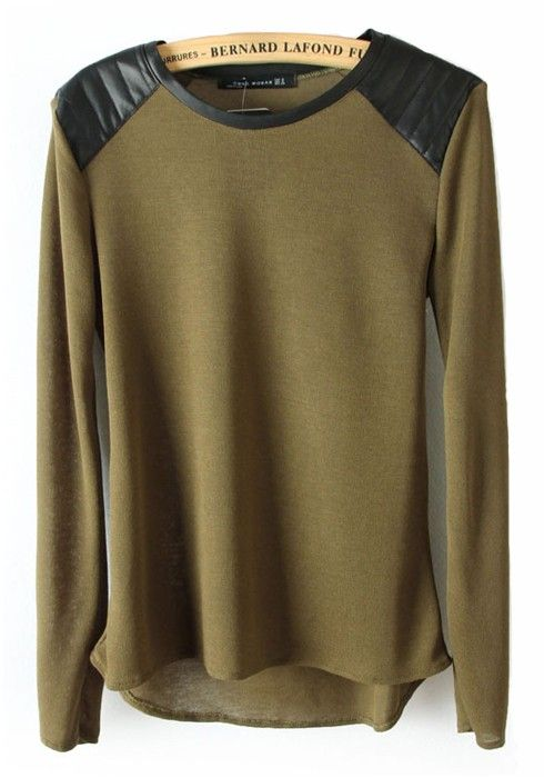 LOVE this Army Green Patchwork Round Neck Pullover with Black Leather Shoulders  Awesome Color and Style! Army Green Khaki Leather Shoulder Olive Green Pullover #Olive #Green #Chiffon #Khaki #Army #Army_Green #Military #Pullover #Style #Fashion #Summer_2014