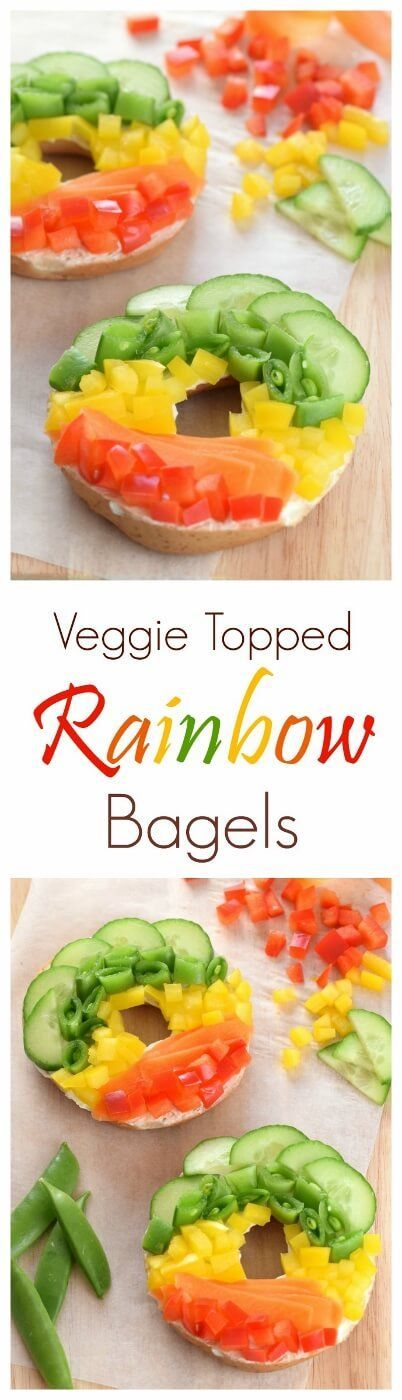 Vegetable topped healthy rainbow bagels recipe from Eats Amazing UK - with no…