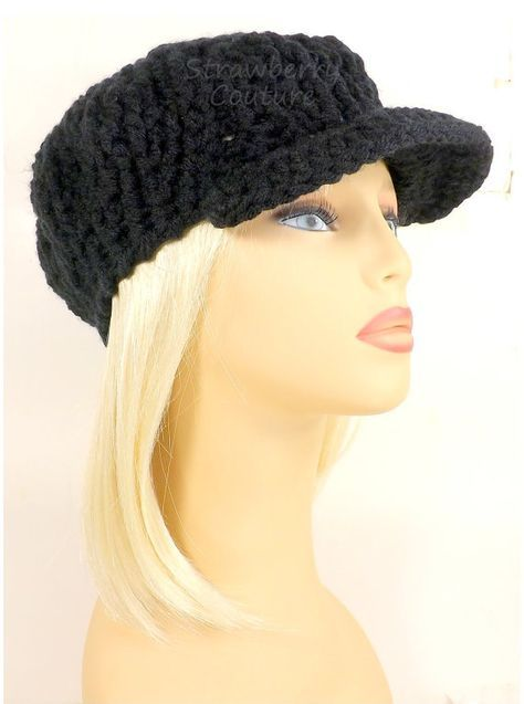 Bohemian Wedding Gifts for Friend Conductress Ribbed Crochet Newsboy Hat with Brim in Black Men Women Unisex Casual Outing