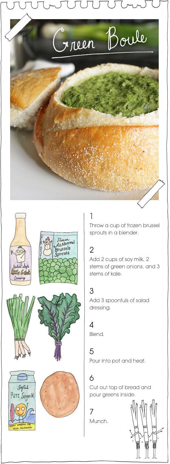 Green Boule: Vegans Stoner, Breads Bowls, Green Boul, Recipe, Brussels Sprouts, Diy Food, Vegan Stoner, Green Bowls, Dips