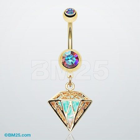 Golden Urban Iridescent Diamond Belly Button Ring