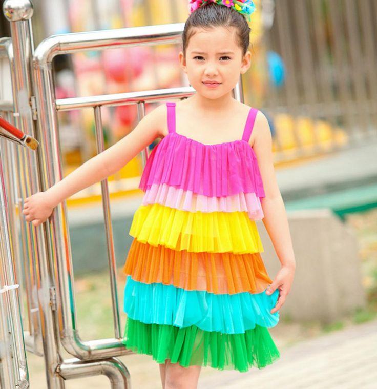 Yaz Gökkuşağı 6-Color Katmanlı Halter Plaj Kız Elbise Vestidos Çocuklar Elbise Yeni 2016 T2AO